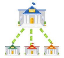 geldcirculatieregeling tussen banken. centrale bankgebouw. platte vectorillustratie. vector