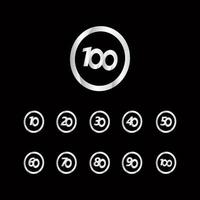 100 verjaardag viering cirkel zilver nummer vector sjabloon ontwerp illustratie