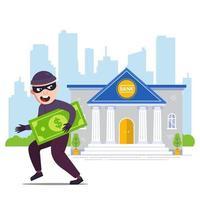 blije dief met geld loopt weg van de bank. platte karakter vectorillustratie vector