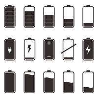 icon set van batterijen met verschillende mate van energielading. zwarte batterij met schaal lading macht geïsoleerd op een witte achtergrond. platte cartoon vectorillustratie. vector