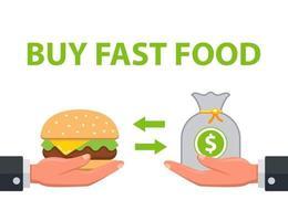 man koopt fastfood. kruidenierswinkel transactie. platte vectorillustratie. vector