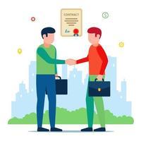 bijeenkomst van zakenpartners. ondertekening van het contract. platte vectorillustratie van karakters. vector