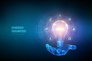 gloeiende gloeilamp met pictogrammen van energiebronnen in de hand. elektriciteit en energiebesparing concept. energiebronnen. campagne voeren voor een milieuvriendelijke en duurzame omgeving. vector illustratie.