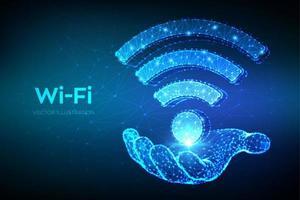 wi-fi netwerkpictogram. 3d laag veelhoekig abstract wi-fi teken in de hand. wlan-toegang, signaalsymbool voor draadloze hotspot. mobiele verbindingszone. router of mobiele transmissie.