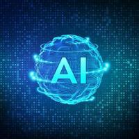 ai. kunstmatige intelligentie en machine learning-concept. bol raster golf op streaming matrix digitale binaire code achtergrond. big data-innovatietechnologie. neurale netwerken.