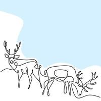 twee rendieren continu een lijntekening. twee herten in het bos minimalistisch design geïsoleerd op een witte achtergrond. winter dier concept hand getrokken lijntekeningen vector wildlife schets illustratie