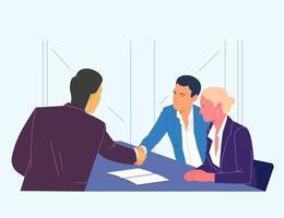 zaken, partnerschap, overeenkomst, teamwerkconcept. happy team keurt de transactie goed. platte eenvoudige vector. vector