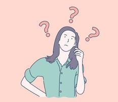 vraag, brainstorm, denken concept van droom jong mooi mooi schattig vrouw of meisje, besluiteloze dame dacht kiezen beslissen dilemma's oplossen problemen het vinden van nieuwe ideeën. eenvoudige platte vector.