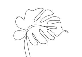 monstera blad één doorlopende lijntekeningen. natuur plant minimalisme ontwerp hand getekend geïsoleerd op een witte achtergrond. moderne enkele lijntekeningen, esthetische contour. terug naar het natuurthema. vector illustratie