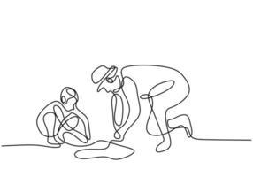 continu een enkele trekkoord vader spelen met zijn zoon op het strand. gelukkige jonge papa en zoontje zand spelen op een zonnige dag. familie tijd concept. minimalistisch ontwerp. vector illustratie