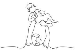 een lijntekening van vader en zoon. jonge glimlach papa houdt een jongen vast en heft hem op. gelukkig gezin concept geïsoleerd op een witte achtergrond. vector ontwerp illustratie. minimalistische schets