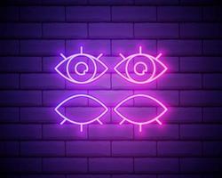 oog neonreclame. open en gesloten ogen. vectorillustratie van zakelijke promotie. geïsoleerd op bakstenen muur vector