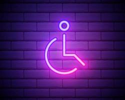 badge van het pictogram van een gehandicapte persoon. elementen van web in neon stijliconen. eenvoudig pictogram voor websites, webdesign, mobiele app, info-afbeeldingen. geïsoleerd op bakstenen muur