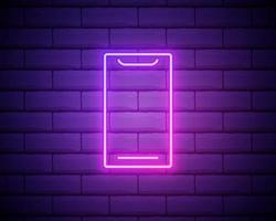 mobiele telefoon, smartphone neonreclame. helder gloeiend symbool op bakstenen muurachtergrond. neon stijlicoon. vector