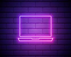 een laptop-pictogram. elementen van media in neonstijlpictogrammen. eenvoudig pictogram voor websites, webdesign, mobiele app, info graphics geïsoleerd op bakstenen muur vector