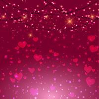 Valentijnsdag achtergrond met hartjes en lichten vector