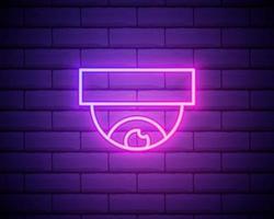 gloeiende neon lijn draadloze controlerende cctv bewakingscamera pictogram geïsoleerd op bakstenen muur achtergrond. iot concept en op afstand huishoudelijk apparaat. vector illustratie