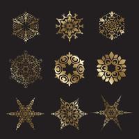 Gouden sneeuwvlokontwerpen vector