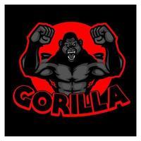 gorilla logo zwarte en rode kleur. woeste boze gorilla mascotte logo stripfiguur. de gorilla staat met twee handen vast en geeft een wilde uitdrukking. vector ontwerp logo