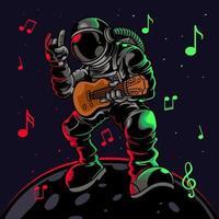 astronaut gitaarspelen met metalen symbool handgebaar. coole kerel astronauten ruimtevaarder spelen astro rock op elektrische gitaar op een planeet. vectorillustratie voor t-shirtafdrukken, posters en ander gebruik. vector