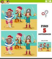 verschillen educatief spel met piratenkarakters vector