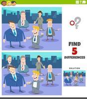 verschillen educatief spel met cartoonzakenlieden vector