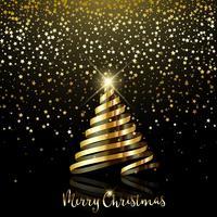 Kerstmisachtergrond met gouden sterconfettien en gouden lint tre