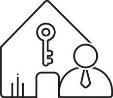 lijn pictogram voor verhuurder verzekering vector