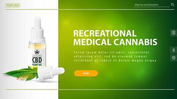 recreatieve medicinale cannabis, witte en groene koptekst voor website met cbd-oliefles met pipet en oranje knop op groene onscherpe achtergrond
