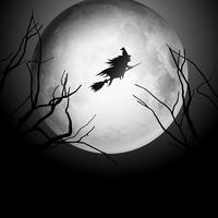Halloween-achtergrond met heks die in de hemel vliegen