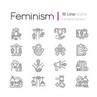 vrouwen in regering lineaire pictogrammen instellen vector