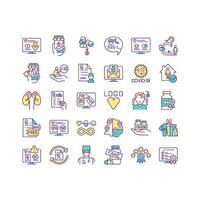 het kopen van geneeskunde online gekleurde pictogrammen instellen vector