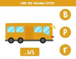 zoek ontbrekende brief met cartoonbus. spelling werkblad. vector