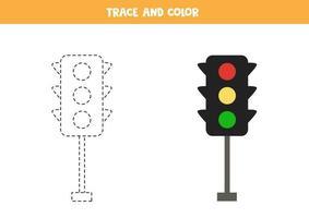 trace en kleur cartoon verkeerslichten. ruimte werkblad voor kinderen. vector