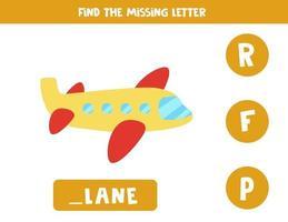 zoek ontbrekende brief met cartoonvliegtuig. spelling werkblad.