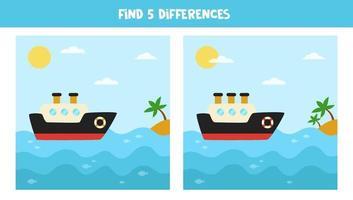 vind 5 verschillen tussen afbeeldingen. schip en zee landschap. vector