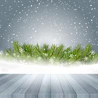 houten tafel kijkt uit naar Kerst achtergrond 3110 vector