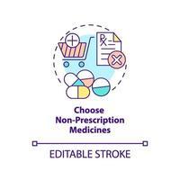kies niet-receptplichtige geneesmiddelen concept pictogram vector