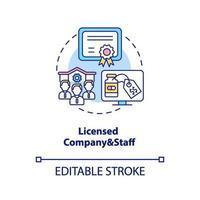 gelicentieerd bedrijf en personeel concept pictogram vector