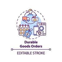 duurzame goederen bestellingen concept pictogram vector