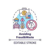 het vermijden van fraude en afval concept pictogram vector