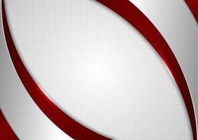 abstracte sjabloon rode en grijze curve op vierkante patroon witte achtergrond vector
