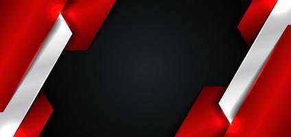 banner websjabloon ontwerp abstract rood en zilver metallic metalen geometrische overlappende laag op zwarte achtergrond vector