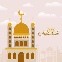 eid Mubarak-tempel met maan en stadsgebouwen vectorontwerp vector