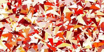 lichtoranje vector achtergrond met driehoeken, lijnen.