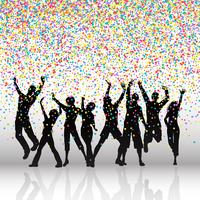 Partijmensen op confettienachtergrond vector