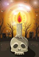 halloween schedel kaars over gloeiende achtergrond vector