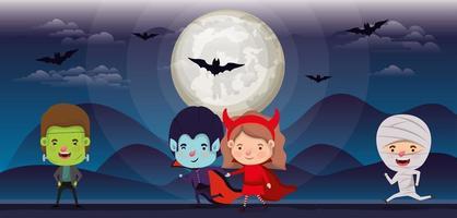 Halloween-seizoenscène met kinderen in kostuums