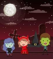 Halloween-seizoenscène met kinderen op kerkhof