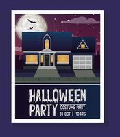 Halloween-seizoenskaart met huis in donkere nachtscène vector